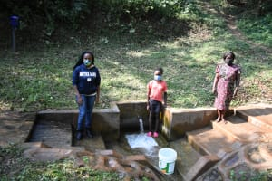 The Water Project: Bumira Community, Madegwa Spring -  From Left Field Officer Georgina With Doreen And Ann