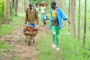 The Water Project: Shianda Township Community, Olingo Spring -  Teamwork To Bring Materials To The Spring