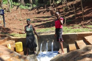 The Water Project: Shihome Community, Peter Majoni Spring -  Ruth And Flavian Celebrate The Spring