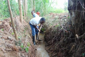 The Water Project: Kimang'eti Community, Kimang'eti Spring -  Drainage Channel Opening