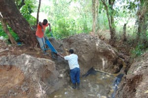 The Water Project: Kimang'eti Community, Kimang'eti Spring -  Casting The Foundation With Concrete