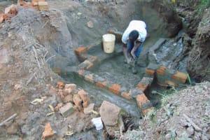 The Water Project: Kimang'eti Community, Kimang'eti Spring -  Brick Setting