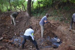 The Water Project: Kimang'eti Community, Kimang'eti Spring -  Soil Backfilling