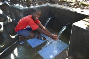 The Water Project: Kimang'eti Community, Kimang'eti Spring -  Baron Celebrates At The Spring