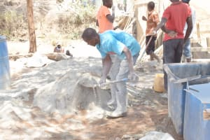 The Water Project: King'ethesyoni Community -  Mixing Dirt And Cement