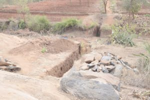 The Water Project: King'ethesyoni Community -  Trenching For Dam