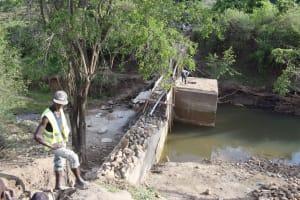 The Water Project: Yumbani Community -  Sand Dam Wall Nearly Done