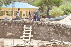 The Water Project: Mutwaathi Secondary School -  Adding Stone To Tank Walls