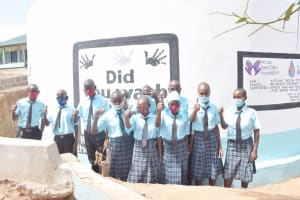 The Water Project: Mutwaathi Secondary School -  Students At The New Tank
