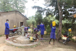 The Water Project: Petros Primary School -  Students Fetching Water