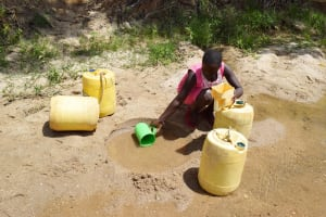 The Water Project: Nduumoni Community C -  Collecting Water At The Scoop Hole