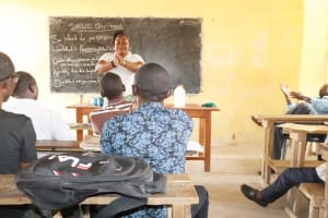 The Water Project: Sulaiman Memorial Academy Jr. Secondary School -  Hygiene Facilitator Teaches Handwashing