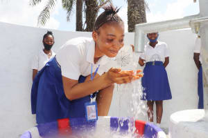 The Water Project: Lungi, Tintafor, St. Augustine Senior Secondary School -  Students Joyfully Playing And Looking At Clean Water