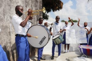 The Water Project: Lungi, Tintafor, St. Augustine Senior Secondary School -  Students Celebrating With Music