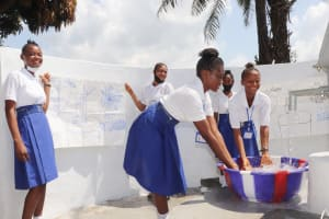 The Water Project: Lungi, Tintafor, St. Augustine Senior Secondary School -  Students Happy Splashing Water