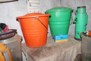 The Water Project: Lungi, Yongoroo, 32 Gbainty Bunlor -  Water Storage Container
