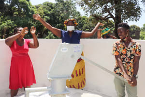 The Water Project: Lungi, Suctarr, #1 Kabbia Lane -  Community Members Celebrate Safe Drinking Water
