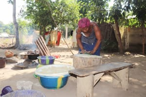 The Water Project: Lungi, Yongoroo, 32 Gbainty Bunlor -  Woman Preparing Cake