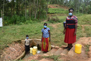 The Water Project: Shivembe Community, Murumbi Spring -  Kenya From Left Angel Margret And Field Officer Karen
