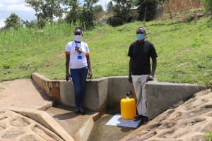 The Water Project: Bungaya Community, Charles Khainga Spring -  Charles With Field Officer Olivia