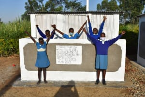 The Water Project: St. Peter's Ebunga'le Primary School -  Girls Posing At Their Newly Constructed Vip Latrines