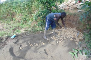 The Water Project: Indulusia Community, Osanya Spring -  Preparing Cement And Concrete