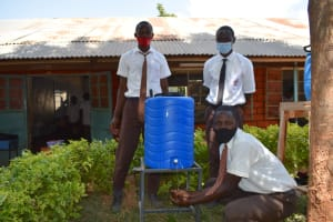 The Water Project: Kitagwa Secondary School -  Boys Handwashing At A New Station
