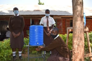 The Water Project: Kitagwa Secondary School -  Girls Handwashing At A New Station