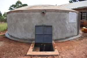 The Water Project: Kitagwa Secondary School -  Complete Rain Tank With Water Flowing