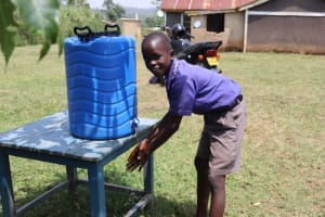 The Water Project: Mwikhupo Primary School -  Christopher Handwashing At A New Station