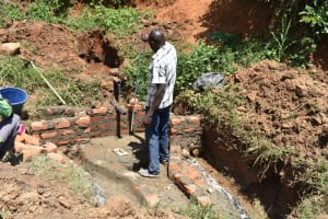 The Water Project: Maraba Community, Shisia Spring -  Setting The Pipe