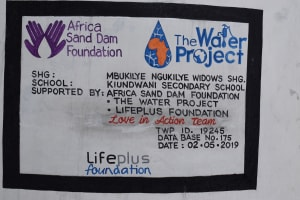 The Water Project: Kiundwani Secondary School -  Plaque
