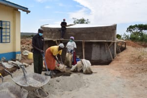 The Water Project: Kaketi Secondary School -  Mixing Cement
