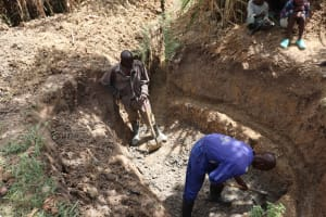 The Water Project: Luyeshe Community, Khausi Spring -  Excavation Of The Site