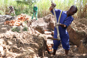 The Water Project: Luyeshe Community, Khausi Spring -  Preparing The Area For The Stairs