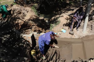 The Water Project: Luyeshe Community, Khausi Spring -  Plastering The Outer Walls