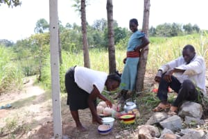 The Water Project: Luyeshe Community, Khausi Spring -  Women Deliver Lunch For Artisans And Workers