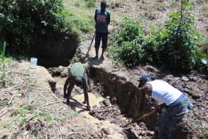 The Water Project: Indulusia Community, Osanya Spring -  Excavation For Foundation