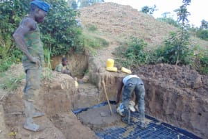 The Water Project: Indulusia Community, Osanya Spring -  Setting The Foundation