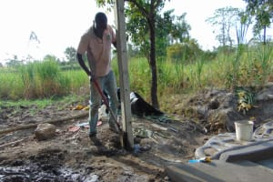 The Water Project: Makhwabuyu Community, Sayia Spring -  Erecting The Fencing Poles
