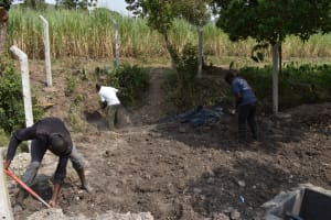 The Water Project: Makhwabuyu Community, Sayia Spring -  Backfilling With Soil
