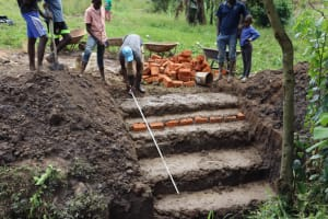 The Water Project: Shianda Community, Panyako Spring -  Stairs Construction And Measurement
