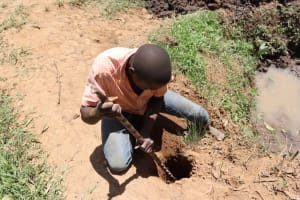 The Water Project: Shianda Community, Panyako Spring -  Digging Holes For Fence Poles