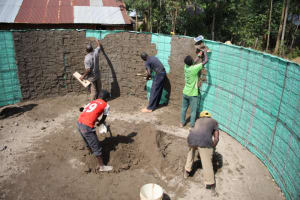 The Water Project: Mwikhupo Primary School -  First Layer Of Plaster