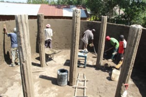 The Water Project: Mwikhupo Primary School -  Plaster And Pillar Works