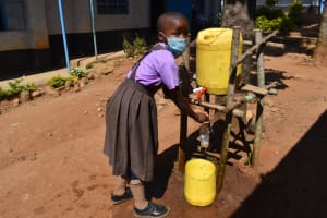 The Water Project: Bahati ADC Primary School -  A Student Handwashing