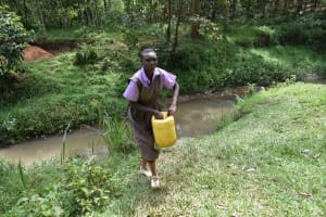 The Water Project: Bahati ADC Primary School -  Carrying Water From Stream
