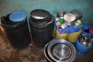 The Water Project: Itabalia Primary School -  Drying Utensils And Water Storage In The Kitchen