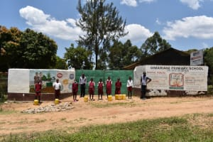The Water Project: Gimariani Primary School -  Students At The Gate With Water