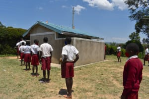 The Water Project: Gimariani Primary School -  Boys Line Up To Use The Latrines